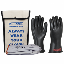 Oberon GLVKT-BRC0 Class 0 Rubber Electrical Glove Kits includes rubber electrical gloves, goat skin leather protectors, and a canvas storage bag