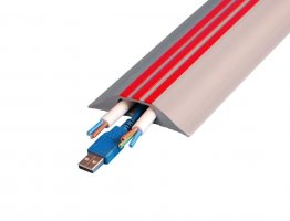 Boddingtons Electrical Highly Visible Grey and Red Cable Protect Hazard, 30 x 10mm Hole Size , in 9M Length