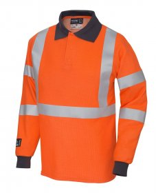 ProGARM 5290 Arc Flash Flame Resistant Class 1 Hi Vis Orange Mens Polo Shirt, 4kA