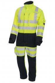ProGARM 6458 Arc Flash Flame Resistant Navy and Yellow Mens Linesman Coverall, 9.5cal/cm2
