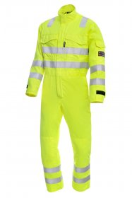 ProGARM 7480 Arc Flash Flame Resistant Hi Vis Yellow Mens  Coverall, 9.5cal/cm2