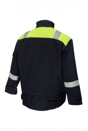 ProGARM 5808 Arc Flash Two Tone Navy and Yellow Mens Work Jacket Flame Resistant Jacket , Class 1 , 4kA