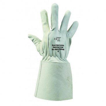 Boddingtons Electrical Electricians Grey Goat Leather Gauntlet Material OverGloves without a buckle, Size 10