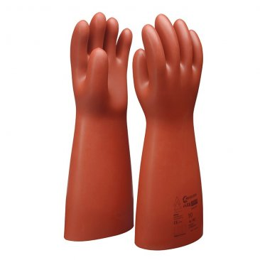 Boddingtons Electrical Insulating Flex & Grip Natural Rubber Safety Gloves, 36000 Max Working Voltage, Class 4, Length 410mm, Thickness 3.6mm, Category RC, with Outer Coating in Orange and Red Elastomer, Size 8