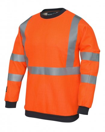 ProGARM 5648 Arc Flash Flame Resistant Class 1 Hi Vis Orange Mens SweatShirt, 21.6cal/cm2